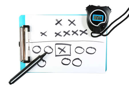 arbitrator: Clipboard with stopwatch and marker isolated on white Stock Photo