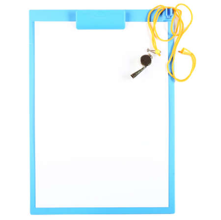 arbitrator: Clipboard with whistle isolated on white Stock Photo