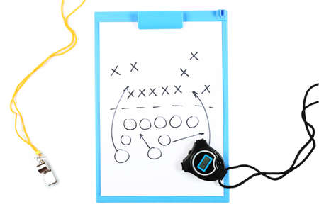 entries: Clipboard with sports equipment isolated on white