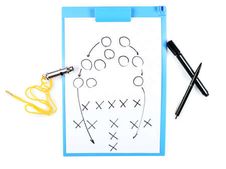 Clipboard with whistle and marker isolated on white Stock Photo