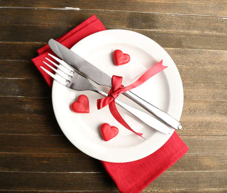 romance: Festive table setting for Valentine Day Stock Photo