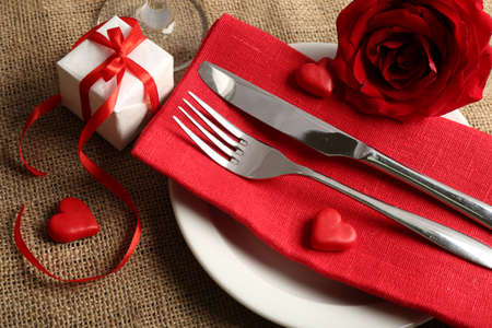 romantic dinner: Festive table setting for Valentine Day Stock Photo