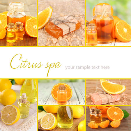compositions: Orange and lemon spa compositions in collage