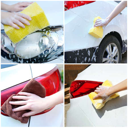 carwash: Collage del coche de lavado