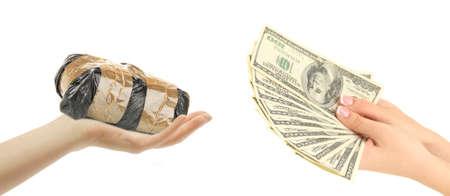 drug dealer: Money For Drugs. Drug dealer and addict trading