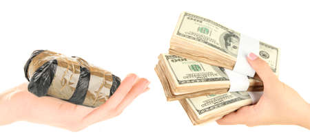 illegal trading: Money For Drugs. Drug dealer and addict trading
