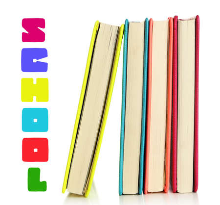 Back to school concept. Colorful notebooks, isolated on white photo