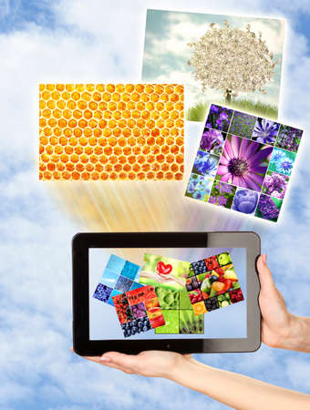Touch screen tablet with streaming images photo