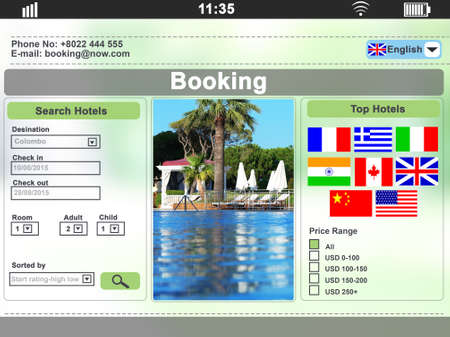 Screen interface. Booking hotels photo