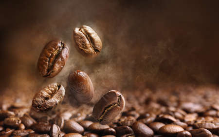 morning coffee: Coffee beans close up
