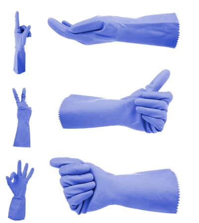 gestos: Guantes gestos azules, aislado en blanco