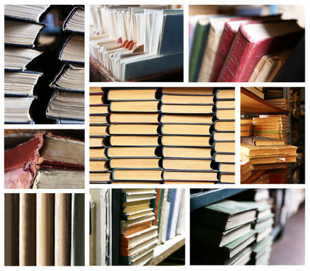 Many different compositions with books in collage photo