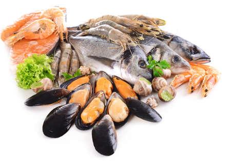 eating fish: Fresh fish and other seafood isolated on white