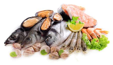 Verse vis en andere zeevruchten op wit wordt geïsoleerd