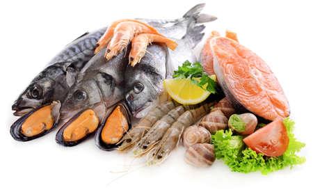 El pescado fresco y otros productos del mar aislado en blanco Foto de archivo - 38033416