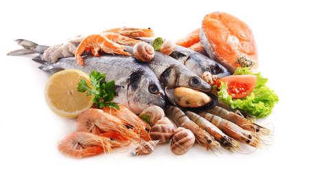 흰색에 고립 된 신선한 생선 및 기타 해산물 스톡 콘텐츠