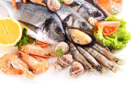 �shrimp: El pescado fresco y otros productos del mar aislado en blanco