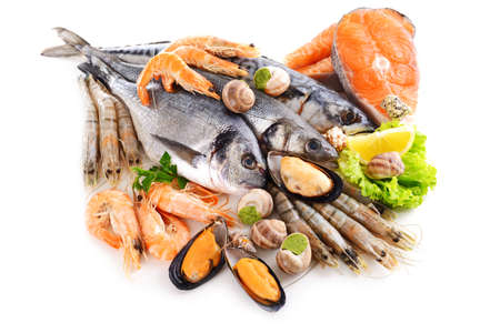 Fresh fish and other seafood isolated on white