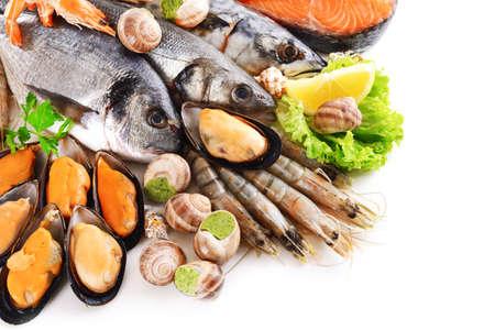 Frischer Fisch und anderen Meeresfrüchten, isoliert auf weiss