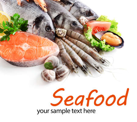 varieties: Fresh catch of fish and other seafood close-up