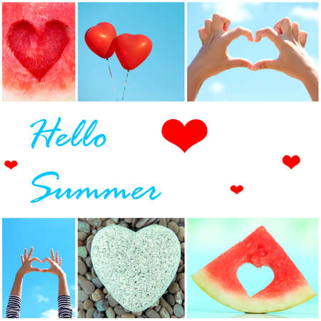 valentine s day beach: Hello Summer concept. Collage of images with different hearts.