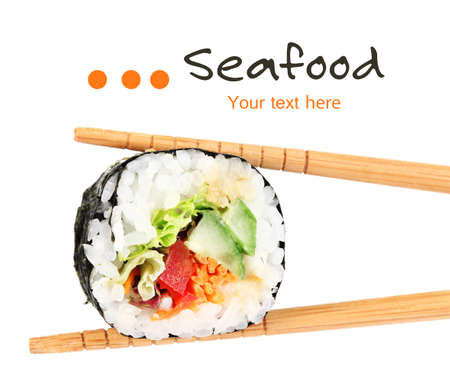 sushi restaurant: Sushi roll with chopsticks isolated on white