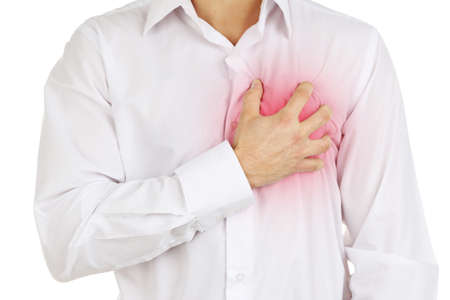human chest: Man having chest pain - heart attack