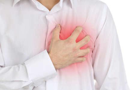 infarto: Hombre que tiene dolor en el pecho - ataque al coraz�n Foto de archivo