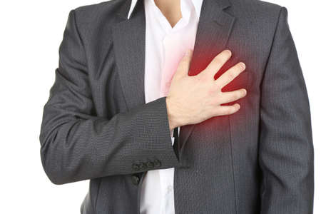 chest pain: Man having chest pain - heart attack