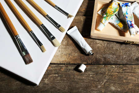 art materials: Professional art materials on wooden background