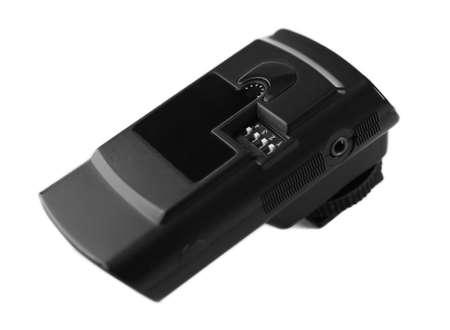 gatillo: Disparador de flash inal�mbrico aislado en blanco Foto de archivo