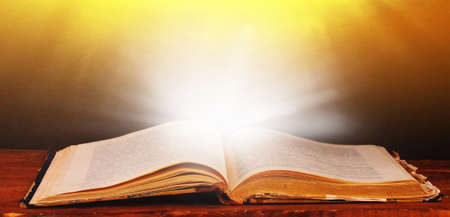 libro abierto: Libro abierto en la mesa sobre fondo marrón Foto de archivo
