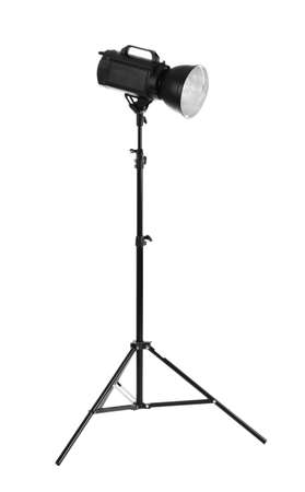 photography session: Camera lightning with reflector isolated on white