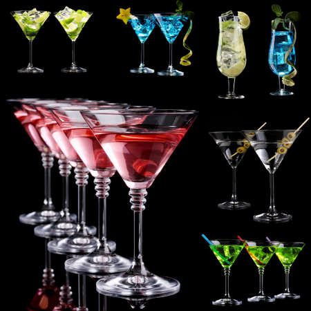 barmen: Collage of different cocktails on black background