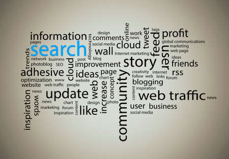 cloud search: Word cloud. Search concept Stock Photo