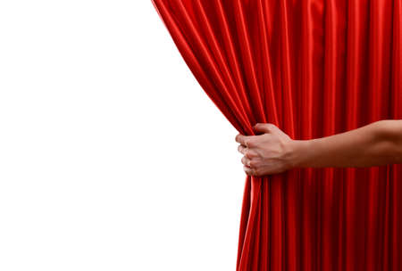 stage actors: Red Curtain on white background Stock Photo