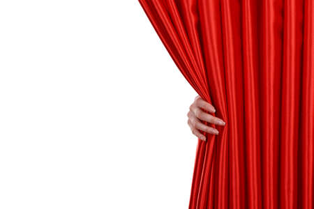 Red Curtain on white background Stock Photo