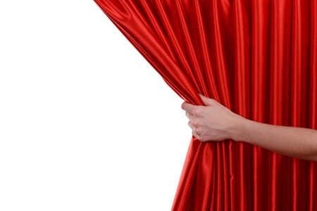白地に赤のカーテン 写真素材