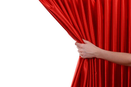 Red Curtain on white background Banque d'images