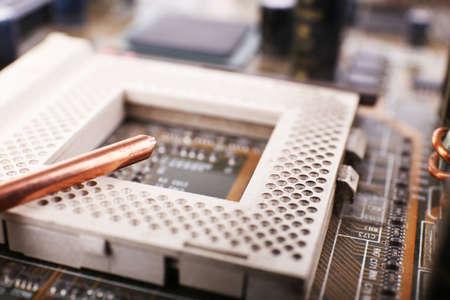 micro drive: Repairing of computer motherboard, macro view