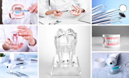 dental clinics: Collage of dental healthcare Stock Photo