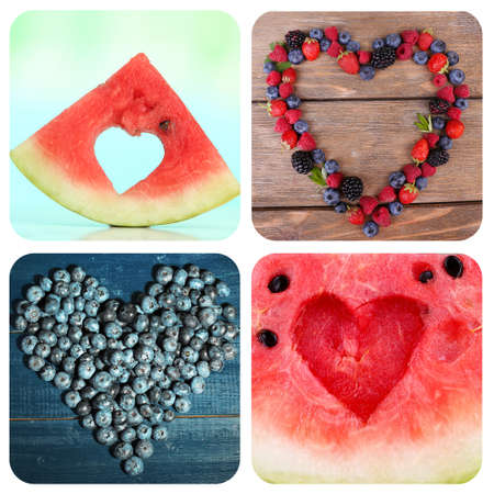 Collage of images with different hearts. Summer concept photo