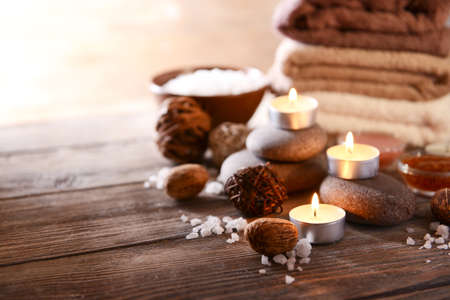 skin scrub: Composition of spa treatment on wooden background