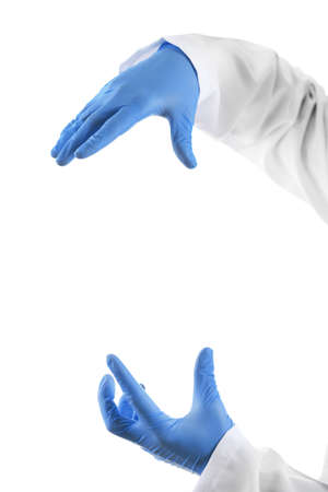 man health: Doctor hands in sterile gloves isolated on white Stock Photo