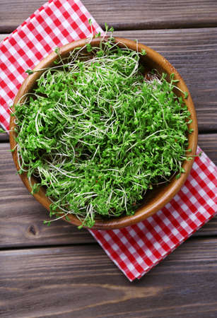 cress: Fresh cress salad in bowl on napkin and wooden planks background