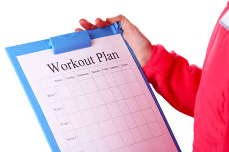 entries: Sports trainer with personal workout plan isolated on white