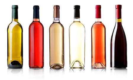 Weinflaschen in Zeile isoliert auf weiß Standard-Bild - 38509853