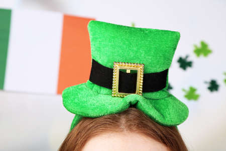 St. Patricks hat on head, close up photo