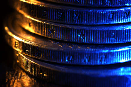 quid: Stack of coins, macro view