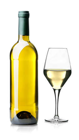 Wine glass and bottle isolated on white